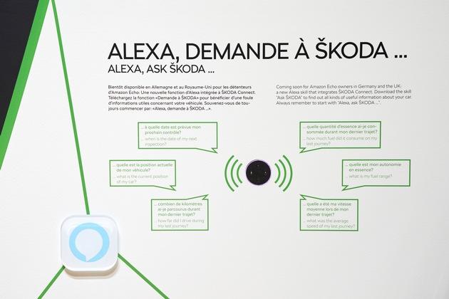 """SKODA AUTO DigiLab auf dem Genfer Autosalon 2018: zukunftsweisende Mobilität interaktiv erleben. SKODA AUTO erweitert SKODA Connect um Amazon 'Alexa'. Über das intelligente Sprachsystem kann der Nutzer auch von zu Hause den Fahrzeugstatus abfragen. Am SKODA AUTO Stand in Genf werden Animationsvideos und ein Display mit 'Alexa'-Befehlen gezeigt. Weiterer Text über ots und www.presseportal.de/nr/28249 / Die Verwendung dieses Bildes ist für redaktionelle Zwecke honorarfrei. Veröffentlichung bitte unter Quellenangabe: """"obs/Skoda Auto Deutschland GmbH/Photo: IvoHercik.com"""""""