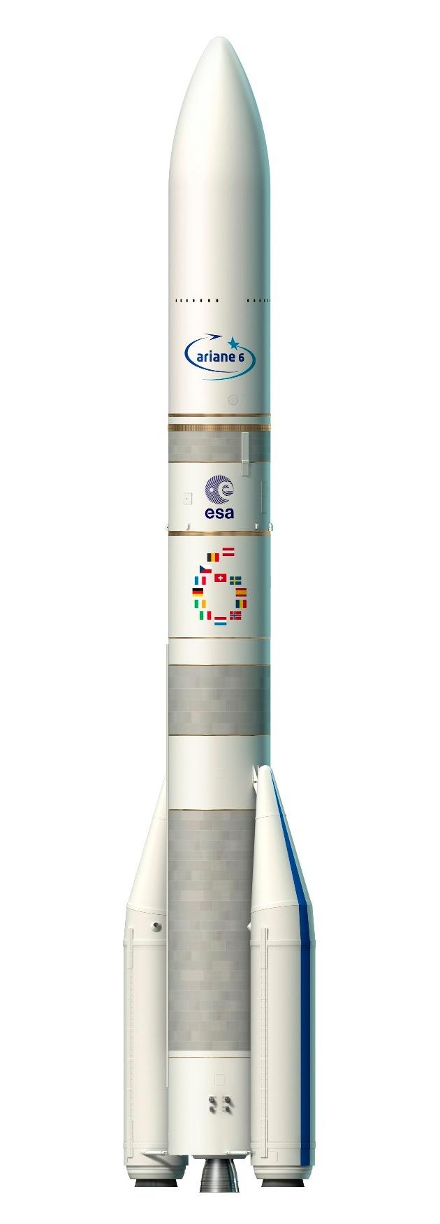 Künstlerische Darstellung einer Ariane 6 Rakete mit zwei Boostern  (c) ESA–David Ducros