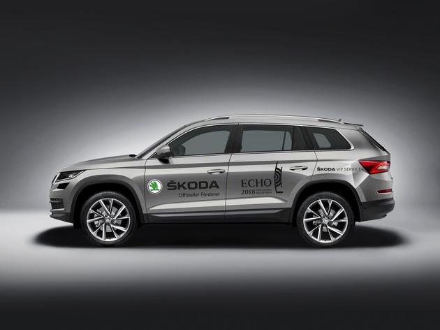 """Das große SUV SKODA KODIAQ spielt beim Echo 2018 eine zentrale Rolle. Weiterer Text über ots und www.presseportal.de/nr/28249 / Die Verwendung dieses Bildes ist für redaktionelle Zwecke honorarfrei. Veröffentlichung bitte unter Quellenangabe: """"obs/Skoda Auto Deutschland GmbH"""""""