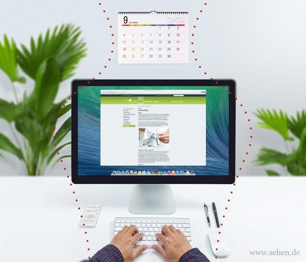 Man hand on desktop keyboard with blank screen monitor - Sehbereiche Bildschirmarbeitsplatzbrille. (Die Fotos stehen nur für redaktionelle Veröffentlichungen mit Quellangabe zur Verfügung. Bei Nichtbeachtung übernimmt das KGS keine Haftung.). Weiterer Text über ots und www.presseportal.de/nr/57604