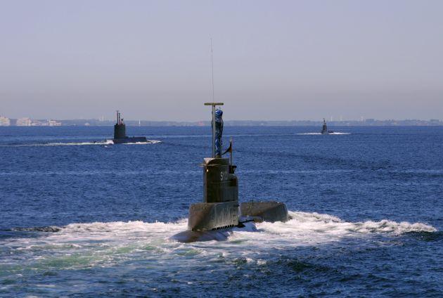 Achivbild: Auslaufen mehrerer Uboote (U24 im Vordergrund). Foto: Deutsche Marine