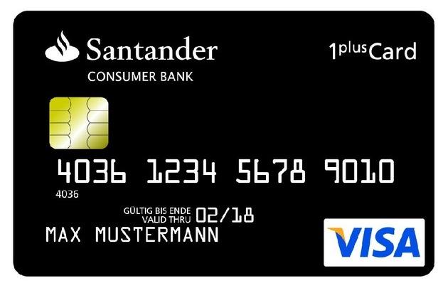 santander bietet 1plus visa card mit kostenlosem girokonto pressemitteilung santander consumer. Black Bedroom Furniture Sets. Home Design Ideas