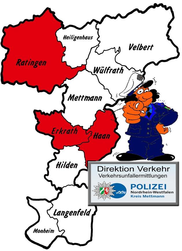 Symbolbild: Aktuelle Verkehrsunfallfluchtermittlungen der Polizei in Ratingen, Haan und Erkrath