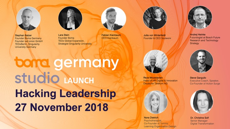 "Boma Germany Studio: Hacking Leadership / Internationales Lineup / SpeakerInnen und Experten zu Digital Leadership, Digitale Transformation, Kulturwandel, Employee Engagement, Purpose, Lernkultur, Exponentielles Denken und Führen mit Empathie Weiterer Text über ots und www.presseportal.de/nr/70974 / Die Verwendung dieses Bildes ist für redaktionelle Zwecke honorarfrei. Veröffentlichung bitte unter Quellenangabe: ""obs/red onion GmbH/Antonia Werner / Nadine Bütow"""