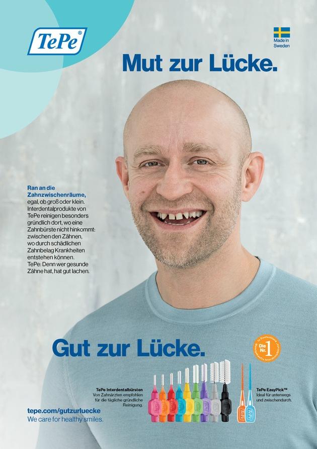 """Mit dem Slogan """"Mut zur Lücke - gut zur Lücke!"""" starten eine Anzeigenkampagne und ein Online-Spot. Weiterer Text über ots und www.presseportal.de/nr/126017 / Die Verwendung dieses Bildes ist für redaktionelle Zwecke honorarfrei. Veröffentlichung bitte unter Quellenangabe: """"obs/TePe D-A-CH GmbH/TePe/ Fotograf: Thomas Rusch"""""""