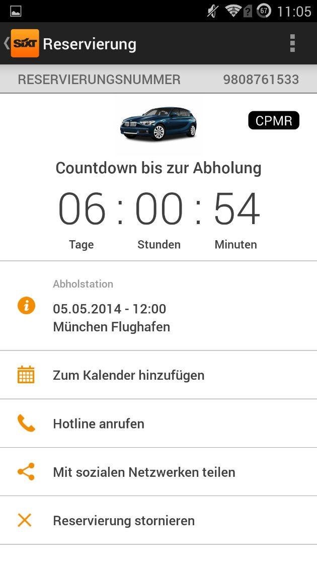 """Sixt_Android App_Buchungsbestätigung. Weiterer Text über OTS und www.presseportal.de/pm/110573 / Die Verwendung dieses Bildes ist für redaktionelle Zwecke honorarfrei. Veröffentlichung bitte unter Quellenangabe: """"obs/Sixt SE"""""""