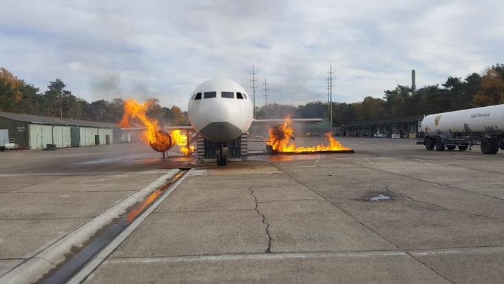 Ein simulierter Flugzeugbrand