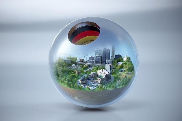 Preisstatuette des Deutschen Nachaltigkeitspreises mit Motiv des Forschungspreises