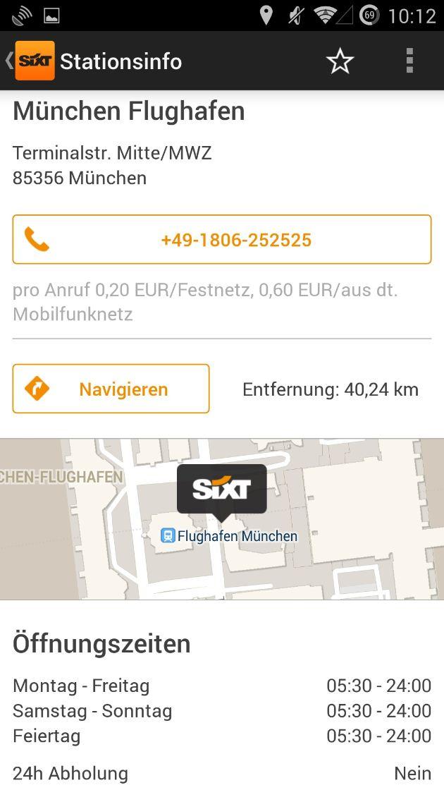 """Sixt_Android App_Stationdetails. Weiterer Text über OTS und www.presseportal.de/pm/110573 / Die Verwendung dieses Bildes ist für redaktionelle Zwecke honorarfrei. Veröffentlichung bitte unter Quellenangabe: """"obs/Sixt SE"""""""