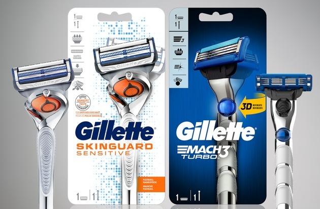NEU: Produktfavoriten Gillette SkinGuard Sensitive und MACH3 Turbo jetzt mit beweglichem Klingenkopf