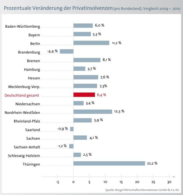 Privatinsolvenzen 2010 auf Rekordniveau (mit Bild)