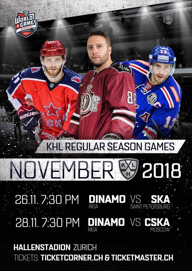 """Poster KHL World Games 2018 in Zürich. Weiterer Text über ots und www.presseportal.ch/de/nr/100065653 / Die Verwendung dieses Bildes ist für redaktionelle Zwecke honorarfrei. Veröffentlichung bitte unter Quellenangabe: """"obs/KHL World Games 2018"""""""