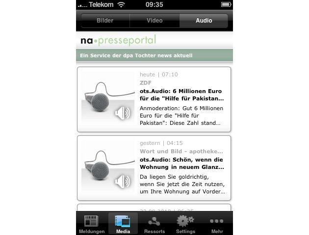 """Ansicht Audios in iPhone-App für Presseportal.de. Die Verwendung dieses Bildes ist für redaktionelle Zwecke honorarfrei. Abdruck bitte unter Quellenangabe: """"obs/news aktuell GmbH"""""""