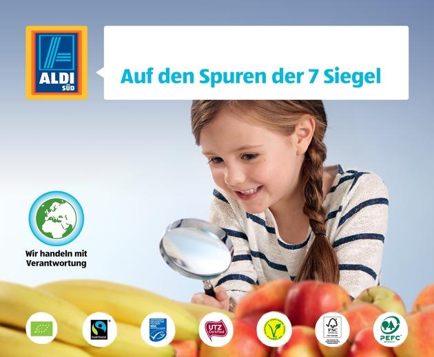 """ALDI SÜD Kampagnenbild: ALDI SÜD startet ab dem 2. Mai 2016 eine Informationskampagne zu einigen wichtigen Nachhaltigkeitsstandards im Lebensmitteleinzelhandel. In der Kampagne """"Auf den Spuren der 7 Siegel"""" werden die Standards (Bio, Fairtrade, UTZ, MSC, V-Label, FSC, PEFC) erstmals zusammen vorgestellt und erläutert. www.aldi-sued.de/7siegel #aldisüdverantwortung Weiterer Text über ots und www.presseportal.de/nr/108584 / Die Verwendung dieses Bildes ist für redaktionelle Zwecke honorarfrei. Veröffentlichung bitte unter Quellenangabe: """"obs/Unternehmensgruppe ALDI SÜD/©ALDI SÜD"""""""