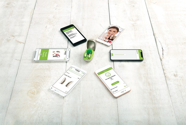"""Phonak Audéo M apps More information via ots and www.presseportal.ch/de/nr/100001676?langid=2 / Editorial use of this picture is free of charge. Please quote the source: """"obs/Phonak AG/NELSON MOUELLIC"""""""