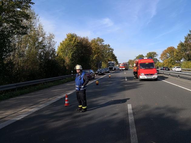 Absicherung mit Verkehrsleitkegeln und dem Großfahrzeug TLF3000 mit ca. 3000 Liter Wasser im Fahrzeugtank.