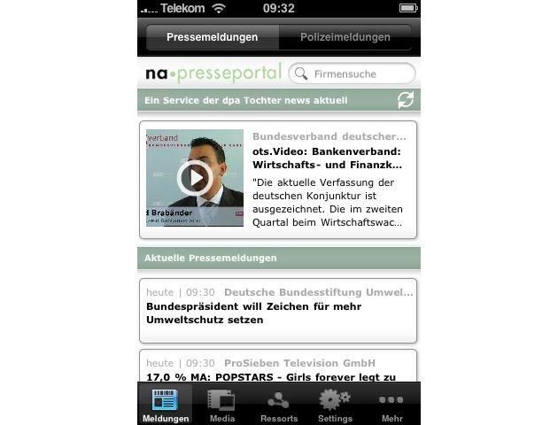 """Startseite der iPhone-App für Presseportal.de. Die Verwendung dieses Bildes ist für redaktionelle Zwecke honorarfrei. Abdruck bitte unter Quellenangabe: """"obs/news aktuell GmbH"""""""
