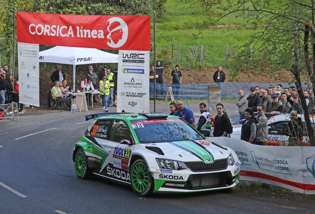 """SKODA bei der Rallye Frankreich/Tour de Corse 2018: Beim vierten Lauf zur Rallye-Weltmeisterschaft fuhren Ole Christian Veiby/Stig Rune Skjaermoen (NOR/NOR) im SKODA FABIA R5 auf Rang vier in der WRC 2-Kategorie. Weiterer Text über ots und www.presseportal.de/nr/28249 / Die Verwendung dieses Bildes ist für redaktionelle Zwecke honorarfrei. Veröffentlichung bitte unter Quellenangabe: """"obs/Skoda Auto Deutschland GmbH"""""""
