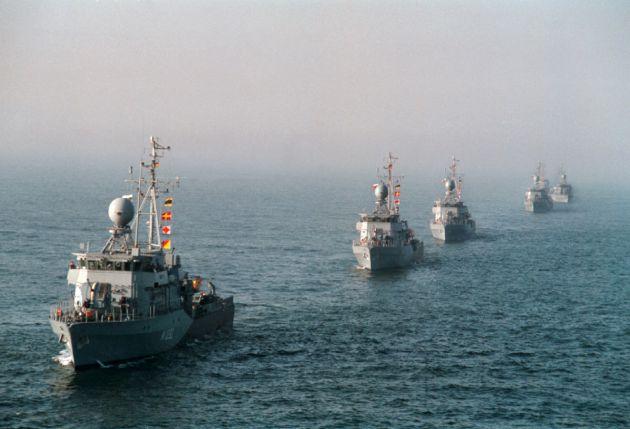 Archivbild: Boote des 5. Minensuchgeschwaders in Formationsfahrt. Foto: Deutsche Marine