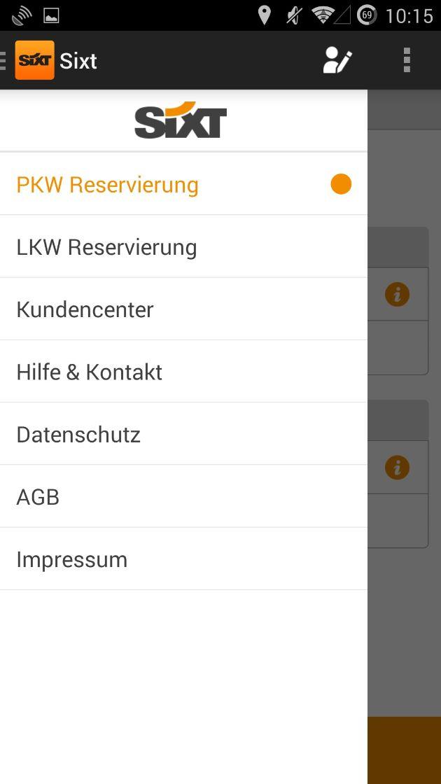 """Sixt_Android App_Menu. Weiterer Text über OTS und www.presseportal.de/pm/110573 / Die Verwendung dieses Bildes ist für redaktionelle Zwecke honorarfrei. Veröffentlichung bitte unter Quellenangabe: """"obs/Sixt SE"""""""