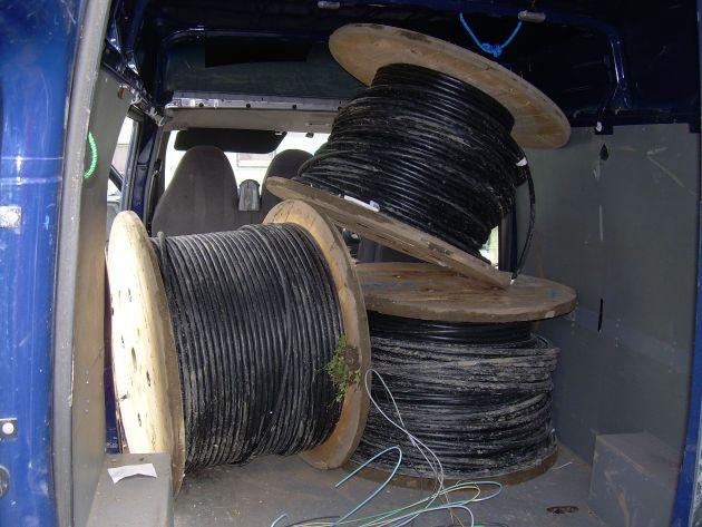 entwendetes Kupferkabel im Transporter