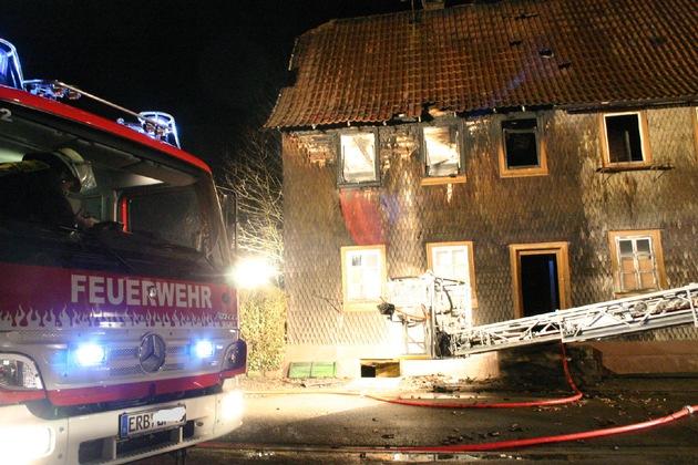 PPSH-ERB: Michelstadt OT Steinbach - Vollbrand eines Wohnhauses