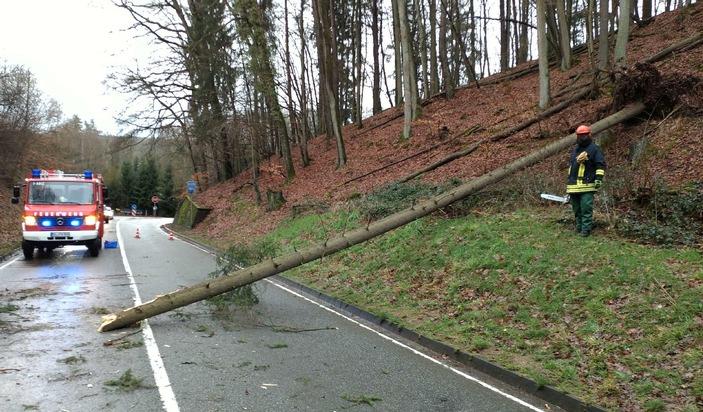 Auf der B48 bei Fischbach versperrte ein umgestürzter Baum die Fahrbahn und sorgte für einen kleineren Unfall. Es blieb aber bei Blechschäden.