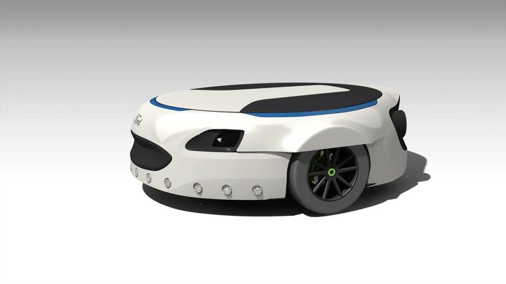 """""""Selbstfahrendes Reserverad"""" - eine von zahlreichen Ford-Mitarbeiter-Innovationen zur Verbesserung urbaner Mobilität. Eine ..."""