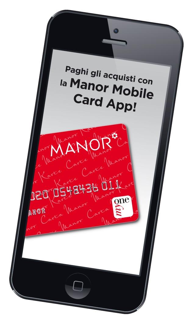 """Manor Mobile Card App: un borsellino nel tuo cellulare / Testo complementare con ots e su www.presseportal.ch. L' utilizzo di quest'immagine è gratuito per scopi redazionali. Pubblicazione sotto indicazione di fonte: """"OTS.photo/Manor AG""""."""