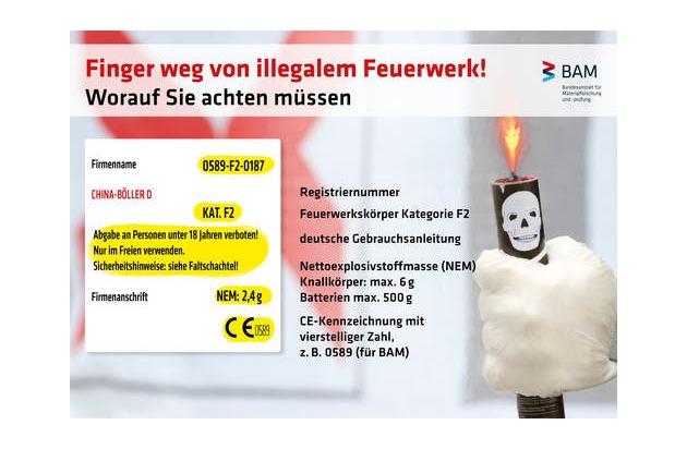 Achten Sie beim Kauf von Feuerwerk auf die die Registriernummer und das CE-Zeichen.  Quelle: BAM