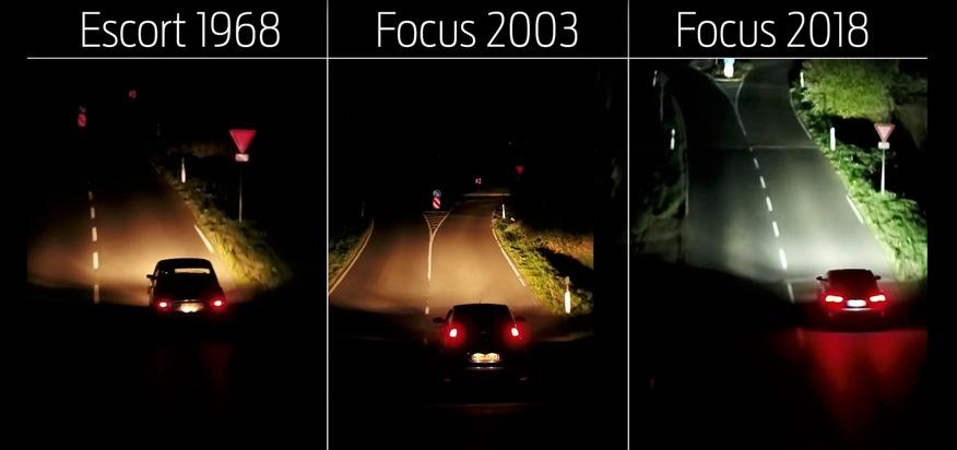 """Anstelle von GPS-Kartendaten, die Änderungen des Straßenverlaufs nicht immer aktuell berücksichtigen, nutzt das Ford Focus-System eine reichweitenstarke Front-Kamera, die auch nachts den vorausliegenden Straßenverlauf einschließlich Kurven und Kreisverkehre erfasst, da sie sich auch an Verkehrsschildern und Fahrbahn-Markierungen orientiert. Das System passt die adaptiven Schweinwerfer bereits vor dem Lenkradeinschlag automatisch an und sorgt somit für eine optimale Ausleuchtung der vorausliegenden Straße. Hinzu kommt: In Abhängigkeit von der Geschwindigkeit des Fahrzeugs verändern die Ford Focus-Schweinwerfer automatisch ihr Leuchtmuster: Bei höherer Geschwindigkeit unterstützen sie die Sichtweite, während sie bei geringerem Tempo ein deutlich breiteres Sichtfeld generieren. Weiterer Text über ots und www.presseportal.de/nr/6955 / Die Verwendung dieses Bildes ist für redaktionelle Zwecke honorarfrei. Veröffentlichung bitte unter Quellenangabe: """"obs/Ford-Werke GmbH"""""""