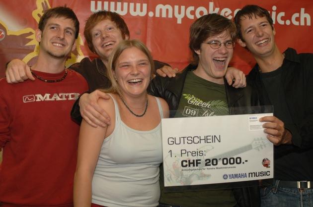 """Concours musical """"Soundcheck 2005"""" sur www.mycokemusic.ch - Nous connaissons maintenant le groupe gagnant"""