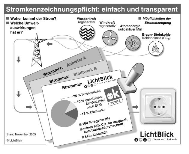 """Ab 15.12.2005 wird die Stromkennzeichnung für alle Anbieter zur Pflicht. In welchen Kraftwerken wird der Strom erzeugt, welche Umweltauswirkungen sind damit verbunden? Die Verwendung dieser Grafik ist für redaktionelle Zwecke honorarfrei. Abdruck bitte unter Quellenangabe: """"obs/LichtBlick - die Zukunft der Energie GmbH"""". Hinweis: Die Grafik kann bei LichtBlick über Herrn Gero Lücking Tel.: 040/63 60-1201 als pdf- und freehand8-Datei angefordert werden."""