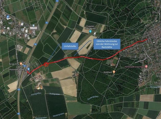 Karte mit der Fahrtstrecke und dem Unfallort