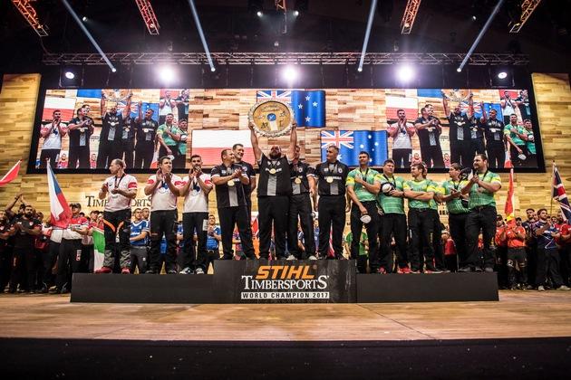 Das Team Neuseeland gewann die STIHL TIMBERSPORTS Team Weltmeisterschaft 2017. Das Team aus Polen war vdas Überraschungsteam ...