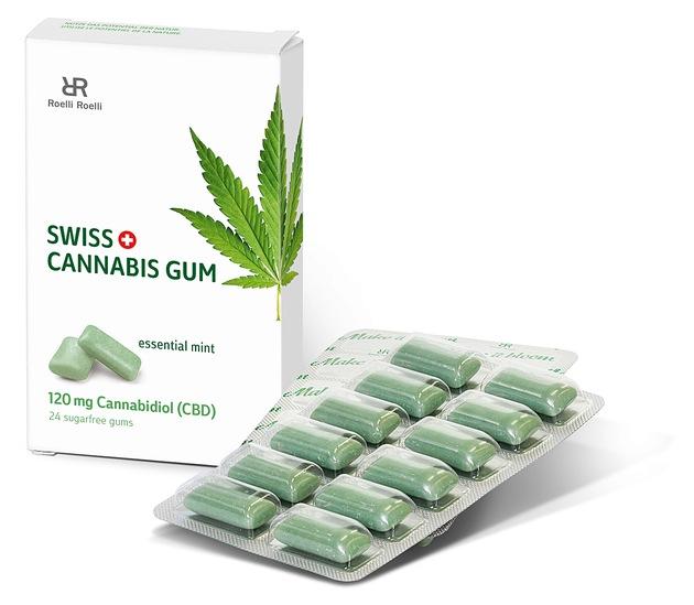 """Swiss Cannabis Gum, 120 mg Cannabidiol (CBD) / Weiterer Text über ots und www.presseportal.ch/de/nr/100065176 / Die Verwendung dieses Bildes ist für redaktionelle Zwecke honorarfrei. Veröffentlichung bitte unter Quellenangabe: """"obs/roelli roelli confectionery schweiz GmbH"""""""
