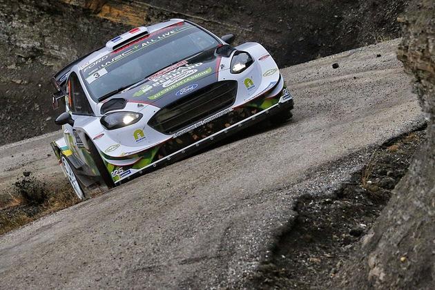 """Bryan Bouffier/Xavier Panseri pilotieren den dritten Ford Fiesta WRC. Weiterer Text über ots und www.presseportal.de/nr/6955 / Die Verwendung dieses Bildes ist für redaktionelle Zwecke honorarfrei. Veröffentlichung bitte unter Quellenangabe: """"obs/Ford-Werke GmbH/@World Media Agency"""""""