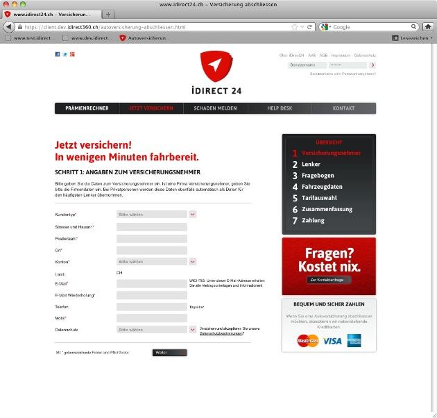 iDirect24.ch: Die erste papierlose Autoversicherung der Schweiz geht online