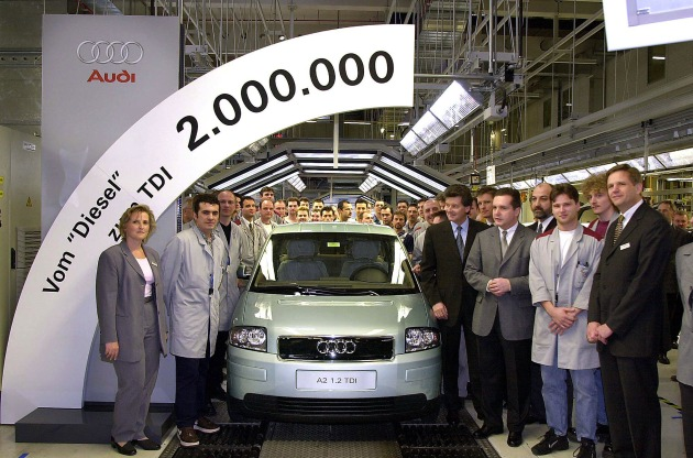 From the inventor of TDI: The two-millionth Audi diesel - an A2 1.2TDI / 20 years of diesel technology from Audi / 44 percent of all newAudi vehicles fitted with TDI