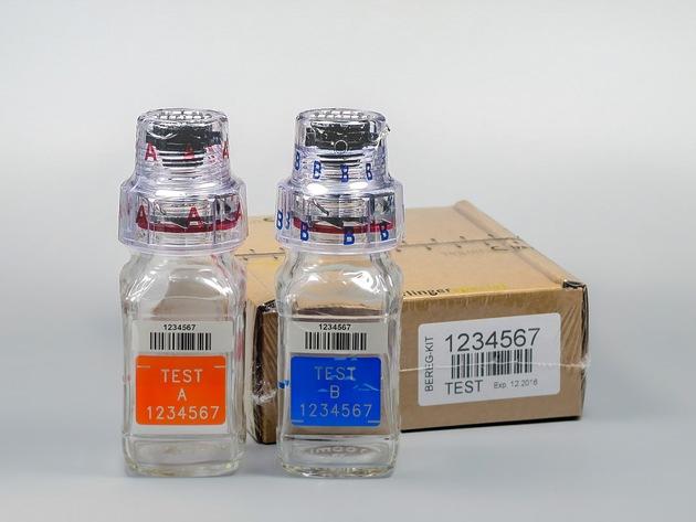 Olympische Spiele 2016 - Rio de Janeiro, Brasilien / Neueste Generation der Berlinger Anti-Doping-Flaschen (BEREG-KIT) an das Organisationskomitee in Brasilien geliefert