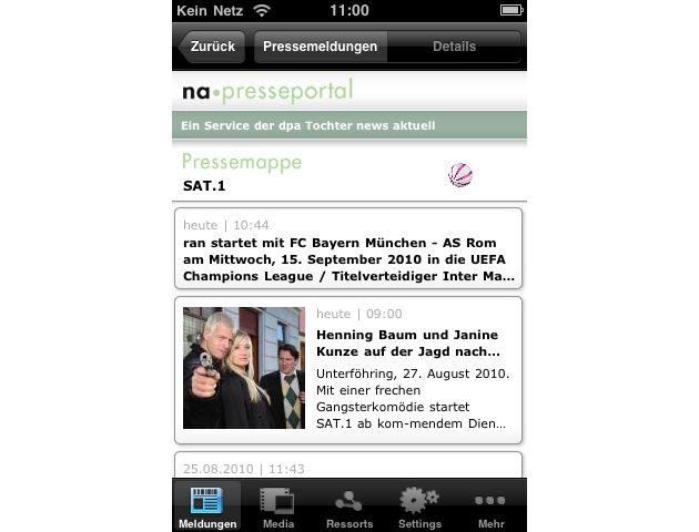 """Ansicht einer Pressemappe in iPhone-App für Presseportal.de. Die Verwendung dieses Bildes ist für redaktionelle Zwecke honorarfrei. Abdruck bitte unter Quellenangabe: """"obs/news aktuell GmbH"""""""