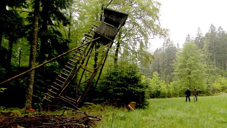 """SWR Fernsehen BETRIFFT, """"Das Projekt Nationalpark - welche Natur wollen wir?"""", am Mittwoch 28.03.18) um 20:15 Uhr. Der fallende Hochsitz - Langfristig soll die bisherige Bejagung im Nationalpark stärker eingeschränkt werden. © SWR, honorarfrei - Verwendung gemäß der AGB im engen inhaltlichen, redaktionellen Zusammenhang mit genannter SWR-Sendung bei Nennung """"Bild: SWR (S2+). SWR-Presse/Bildkommunikation, Baden-Baden, Tel: 07221/929-23876, foto@swr.de. Weiterer Text über ots und www.presseportal.de/nr/7169"""