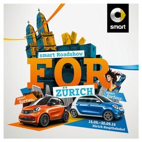 """Key Visual Roadshow Zurich. Weiterer Text über OTS und www.presseportal.ch/pm/100054432 / Die Verwendung dieses Bildes ist für redaktionelle Zwecke honorarfrei. Veröffentlichung bitte unter Quellenangabe: """"OTS.Bild/smart"""""""