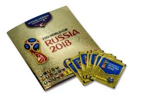 """Album y pochettes 1 / Panini 2018 FIFA World Cup RussiaTM - Gold Edition / Texte complémentaire par ots et sur www.presseportal.ch/fr/nr/100020842 / L'utilisation de cette image est pour des buts redactionnels gratuite. Publication sous indication de source: """"obs/PANINI SUISSE AG"""""""