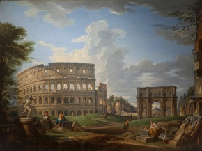 "Pressefoto ""Rom!"" © Giovanni Paolo Pannini, Kolosseum und Triumphbogen des Kaisers Konstantin, 1742, Musée Thomas Henry, Cherbourg-en-Cotentin"