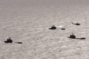 Das letzte Auslaufen der Uboote der Klasse 206 A wurde von einem Hubschrauber begleitet. Foto: Ann-Kathrin Fischer, PIZ Marine.