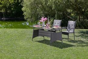<b>Palermo Gartentisch</b><br> Palermo besteht aus einem mit Polyrattan umwickelten Stahlgestell - Perfekt für gemütliche Abende draußen.<br> Maße (H/B/T): 75 x 90 x 150 cm<br> Preis: 159,99 €