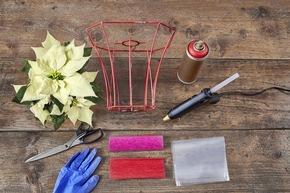 ?Starlight? ? Für den Weihnachtsstern mit Lampenschirm werden folgende Materialien benötigt.