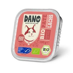 """DANO Getreidefreie Bio Pastete für Katzen mit Lachs, 100g, UVP je 0,99 Euro. Weiterer Text über ots und www.presseportal.de/nr/131377 / Die Verwendung dieses Bildes ist für redaktionelle Zwecke honorarfrei. Veröffentlichung bitte unter Quellenangabe: """"obs/DANO - YARRAH ORGANIC PETFOOD B.V"""""""