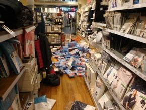 Verwüstete Geschäftsräume Foto: Bundespolizei